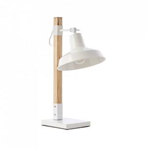 Lampa birou maro/alba din metal si lemn 53 cm Hank Brilliant