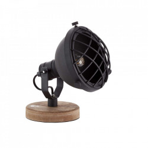 Lampa birou neagra/maro din lemn si metal 21 cm Mila Brilliant