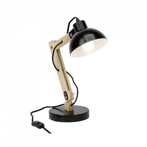 Lampa birou neagra/maro din metal si lemn 41,5 cm Moda Brilliant