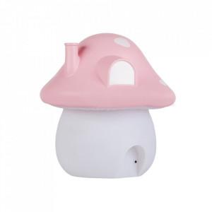 Lampa de veghe roz/alba din PVC cu LED 19 cm Mushroom A Little Lovely Company