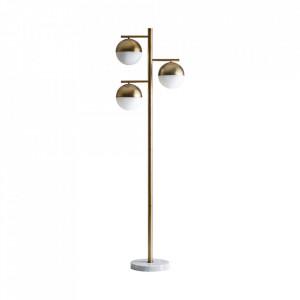 Lampadar alb/auriu din fier si marmura cu 3 becuri 168 cm Anne Vical Home