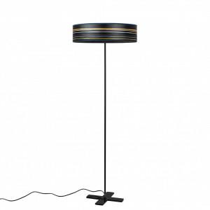 Lampadar albastru din otel si lemn cu 3 becuri 142 cm Ocho Striped Dark Bulb Attack