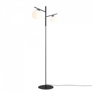Lampadar negru/alb din metal si sticla cu 2 becuri 168 cm Luna Aldex