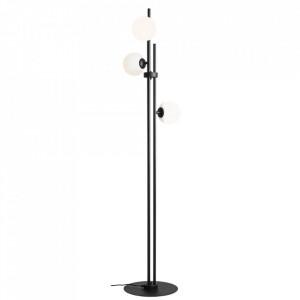 Lampadar negru/alb din otel si sticla cu 3 becuri 168 cm Harmony Aldex