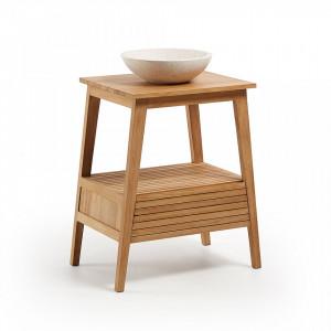 Lavoar din lemn tec si ceramica terazzo pentru baie 91 cm Kuveni Kave Home