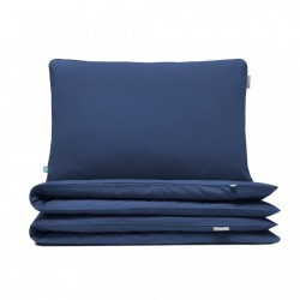 Lenjerie de pat albastra din bumbac Basic Navy Blue Single Mumla (diverse dimensiuni)