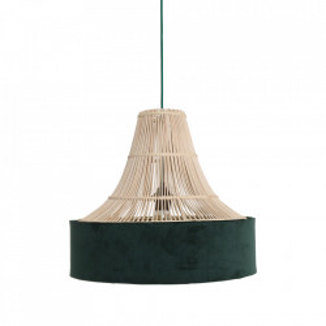 Lustra maro/verde din ratan si catifea Suave Circus Raw Materials