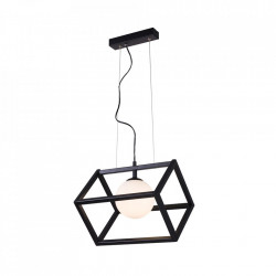 Lustra neagra/alba din metal si sticla Cube Single Black Aldex