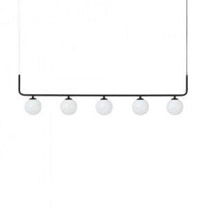 Lustra neagra din sticla si otel cu 5 becuri Catkin Custom Form