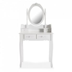 Masa alba de toaleta din lemn si sticla Camila Versa Home