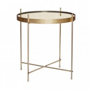 Masa cafea aurie din metal si oglinda 43 cm Mirror Hubsch