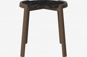 Masa cafea din lemn stejar inchis si marmura neagra 46 cm Mixed Bolia