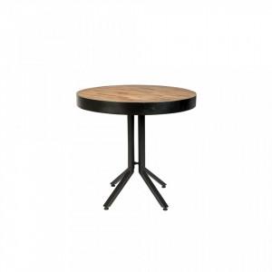 Masa cafea maro/neagra lemn si otel 75 cm Maze Round White Label