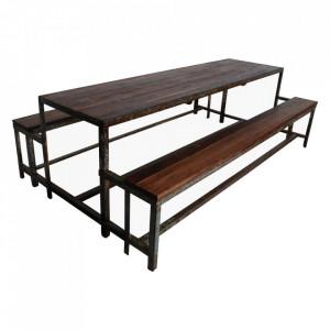 Masa cu banci pentru picnic din fier si lemn Barshi Raw Materials