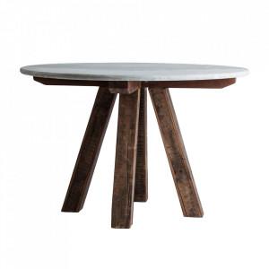 Masa dining alba/maro din marmura si lemn 120 cm Zwaia Vical Home