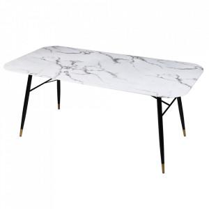 Masa dining alba/neagra din sticla si metal 90x180 cm Paris Invicta Interior