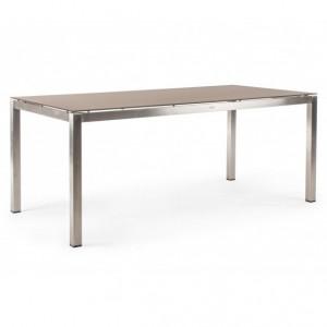 Masa dining argintie din sticla temperata si inox pentru exterior 90x180 cm Evans Bizzotto
