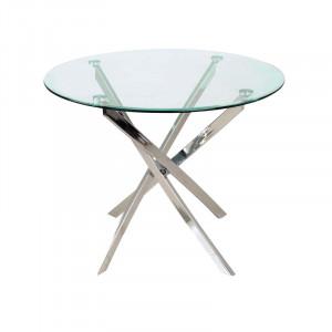 Masa dining din sticla si metal 90 cm Agis Signal Meble