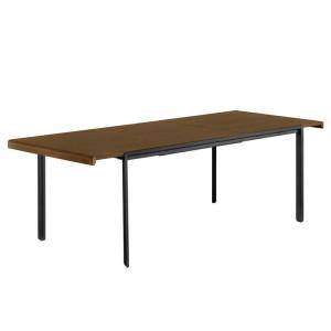 Masa dining extensibila din lemn de nuc si metal pentru exterior 80x(160)200 cm Nadyria La Forma