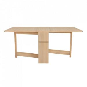 Masa dining extensibila maro din PAL si lemn 90x170 cm Kungla Drop-Leaf Woodman