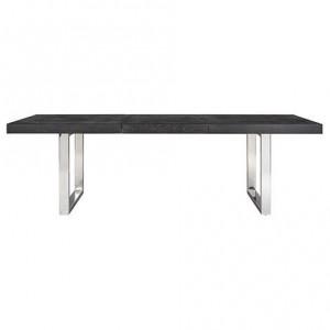 Masa dining extensibila neagra/argintie din lemn si inox 100x195(265) cm Blackbone Richmond Interiors