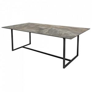 Masa dining grej/neagra din ceramica si metal 100x200 cm Concord Invicta Interior