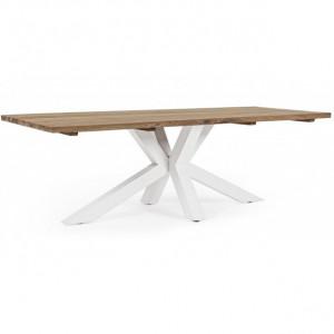 Masa dining maro/alba din lemn si aluminiu pentru exterior 100x240 cm Ramsey Bizzotto