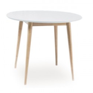 Masa dining maro/alba din MDF si lemn 90 cm Larson Signal Meble