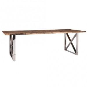 Masa dining maro/argintie din lemn si inox 100x180 cm Kensington Richmond Interiors