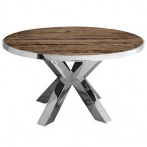 Masa dining maro/argintie din lemn si inox 140 cm Kensington Richmond Interiors