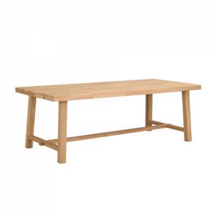 Masa dining maro deschis din lemn de stejar 95x220 cm Brooklyn Rowico Home