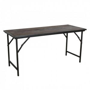 Masa dining maro din fier si lemn 62x153 cm Market Raw Materials