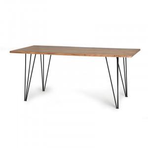 Masa dining maro din lemn de salcam si metal 90x160 cm Riva Giner y Colomer