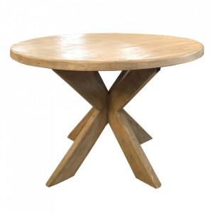 Masa dining maro din lemn de ulm 120 cm Tela Denzzo
