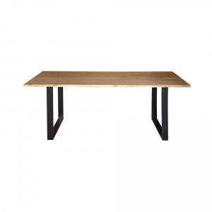 Masa dining maro/neagra din lemn de salcam si fier 80x140 cm Gracie Giner y Colomer