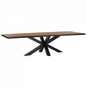 Masa dining maro/neagra din lemn de salcam si metal 94x300 cm Ecouis Denzzo