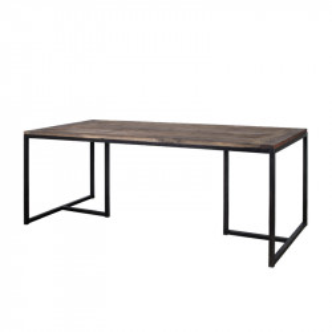 Masa dining maro/neagra din lemn de ulm si metal 90x200 cm Madrid Lifestyle Home Collection
