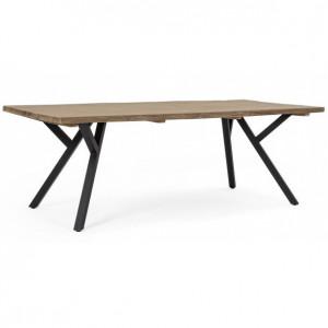 Masa dining maro/neagra din lemn si aluminiu pentru exterior 100x220 cm Coleman Bizzotto