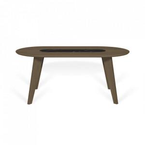 Masa dining maro/neagra din lemn si marmura 100x180 cm Lago TemaHome