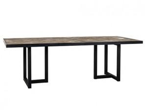 Masa dining maro/neagra din lemn si metal 100x200 cm Herringbone Richmond Interiors