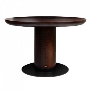 Masa dining maro/neagra din lemn si otel 120 cm Joburg Big Versmissen