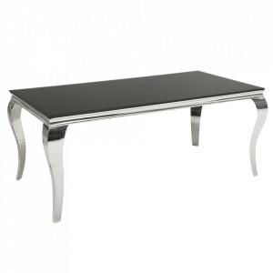 Masa dining neagra/argintie din sticla si inox 90x180 cm Modern Baroque Invicta Interior
