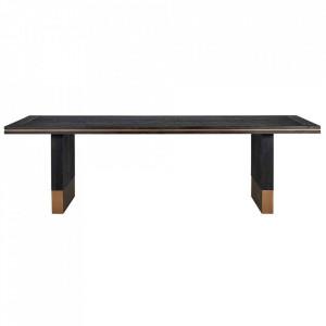 Masa dining neagra/aurie din lemn si metal 100x260 cm Hunter Table Richmond Interiors