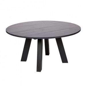 Masa dining neagra din lemn de stejar 150 cm Rhonda Woood