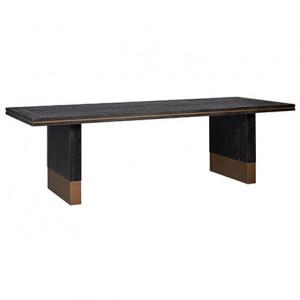 Masa dining neagra din lemn si inox 100x190 cm Hunter Richmond Interiors