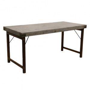 Masa dining neagra/gri din lemn si metal 70x160 cm Fontaimne Raw Materials