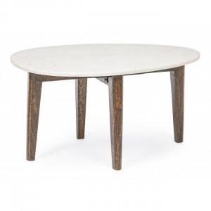 Masuta alba/maro din marmura si lemn pentru cafea 50x70 cm Sylvester Bizzotto