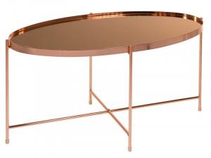 Masuta din fier si sticla 45x80 cm Lira Oval Copper Santiago Pons