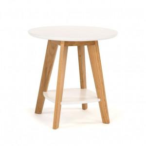 Masuta maro/alba din lemn si MDF pentru cafea 55 cm Kensal Woodman