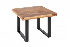 Masuta maro/neagra din lemn si fier pentru cafea 60x60 cm Gustavo Sheesham Invicta Interior